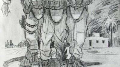 Dibujando en zona de guerra