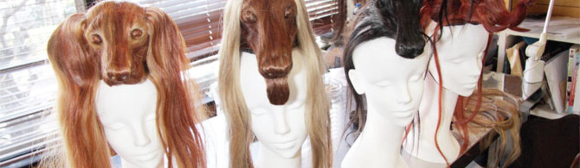 Japonské zvířecí kloboučky z vlasů