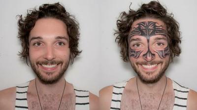 Ik droeg een week lang een gezichtstattoo