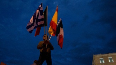 A polícia grega usou o seu novo canhão em cima dos manifestantes