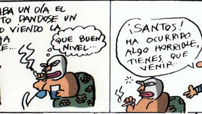 Estaba un día el Santos dándose un gallo viendo la lucha libre...