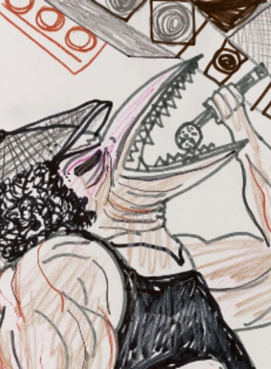 Brian Johnson dibujado como un pollo