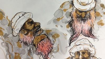 Molly Crabapple nos envió unos dibujos de las audiencias preliminares de Sheikh Mohammed en Guantánamo