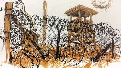 Molly Crabapple Draws Guantanamo's Camp X-Ray