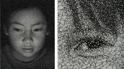 Artista care face imagini realiste doar din cuie și ață de cusut