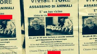Secondo questo animalista, i manifesti contro i ricercatori sono una montatura