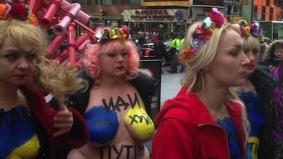 Femen Brings Ukrainian Politics (and Boobs) to Times Square