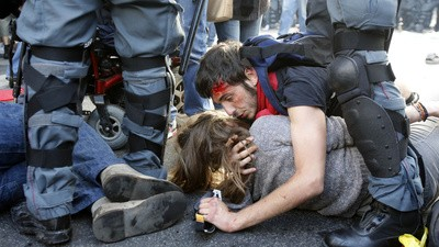 A 'Blue Bloc' Stormed the Streets of Rome This Weekend