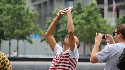Photos of People Taking Selfies at the 9/11 Memorial