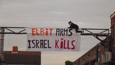 British Pro-Palestine Activists Are Sitting On the Roof of a Staffordshire Drone Factory