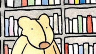 Francis Bear at the Library