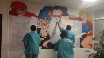 There's a Mural of a Superhero Gang Bang in a Hospital