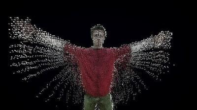 Ein menschlicher Körper verwandelt sich in zwei Millionen digitale Partikel