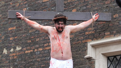 We Watched Devout Christians Crucify Jesus Near a Sports Retailer in London