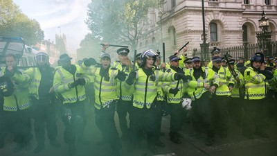 We Watched Anti-Tory Protesters Battle with Police Outside Downing Street