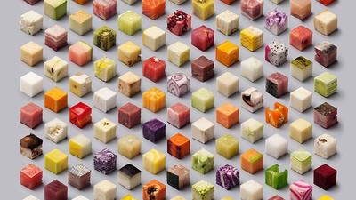So kreierten Designer ein isometrisches Raster aus 98 kulinarischen Würfeln