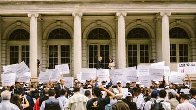 A Bunch of Uber Fans Protested at New York's City Hall Today