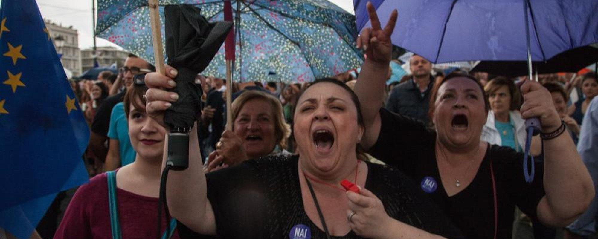 Greeks Filled Athens' Syntagma Square to Say 'Yes' to the EU Bailout Plan Last Night