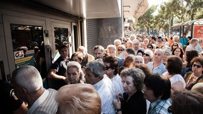 Queues of Greek Pensioners Desperately Trying to Withdraw Money Took Over Athens Today