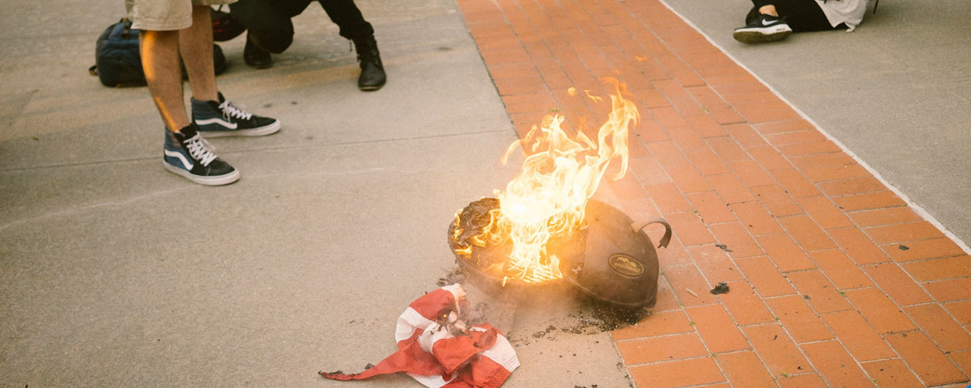 Photos of an American Flag Burning in Brooklyn Last Night