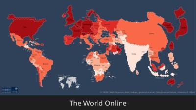 Dove vive internet: la mappa che mostra i paesi con più persone connesse