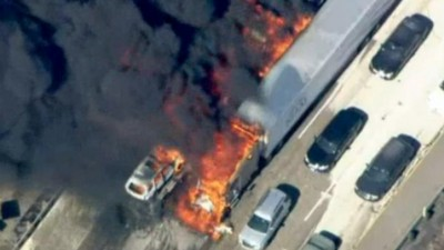 California Wildfire Engulfs Freeway as Drones Delay Response Efforts
