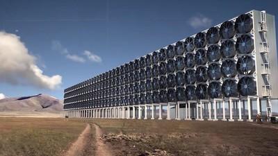 Vom Winde durchweht: Diese riesige Turbinenwand soll CO2 in Benzin verwandeln