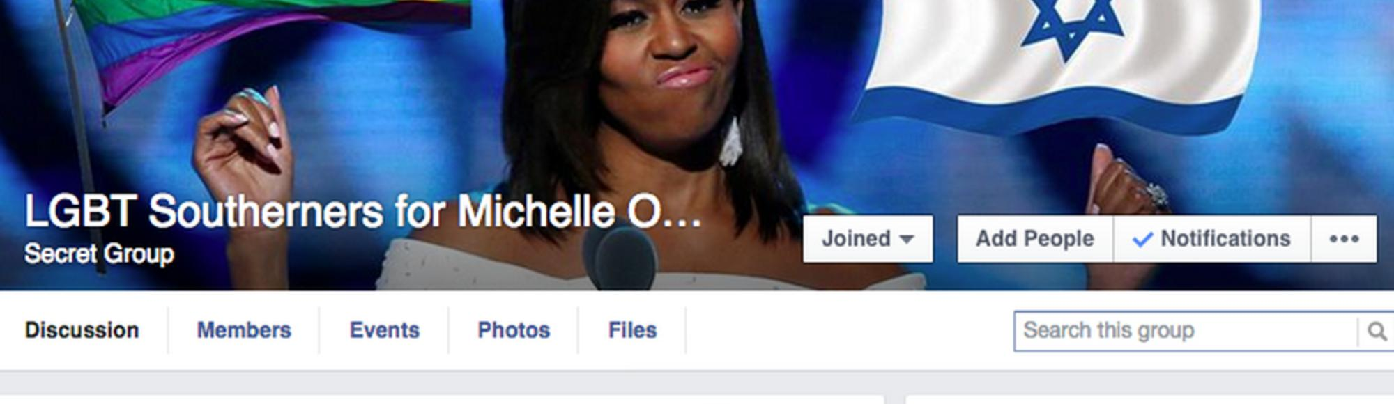 How I Infiltrated a White Pride Facebook Group and Turned It into 'LGBT Southerners for Michelle Obama' How-i-infiltrated-a-white-power-facebook-group-and-tktktk-1438366158-crop_lede