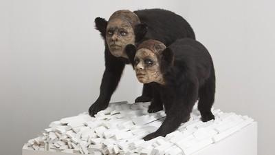 Animales disecados con rostros humanos
