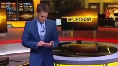 BBC Sport Presenter Has an Imaginary iPad in His Hand