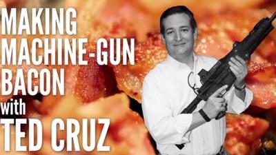 Watch Ted Cruz Cook Bacon on the Barrel of a Machine Gun