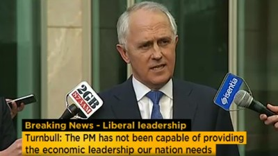 Malcolm Turnbull Will Challenge Tony Abbott for the Prime Ministership