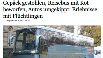 """Wie rechte Blogs das Anti-Flüchtlings-Märchen vom """"Kot am Busfenster"""" verbreitet haben"""