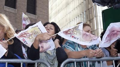 So euphorisch wurde der Papst in New York empfangen