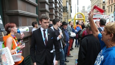 I Spoke to Some Screaming Tory-Haters Outside the Tory Conference