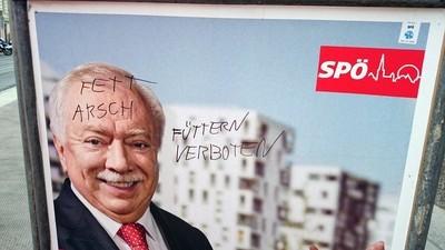 Einige Fotos von beschmierten Wiener Wahlplakaten