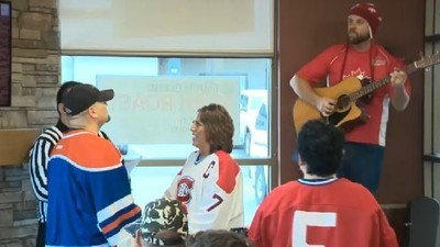 Most Canadian Couple of All Time Gets Married at Tim Hortons in Hockey Jerseys