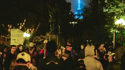 Anonymous Activists Held a Pretty Chill 'Million Man March' in Manhattan Last Night