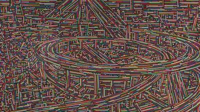 Die Straßen Shanghais als bunte Vektorgrafik