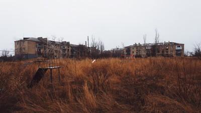 Die Häuser an der Front des Ukraine-Konflikts