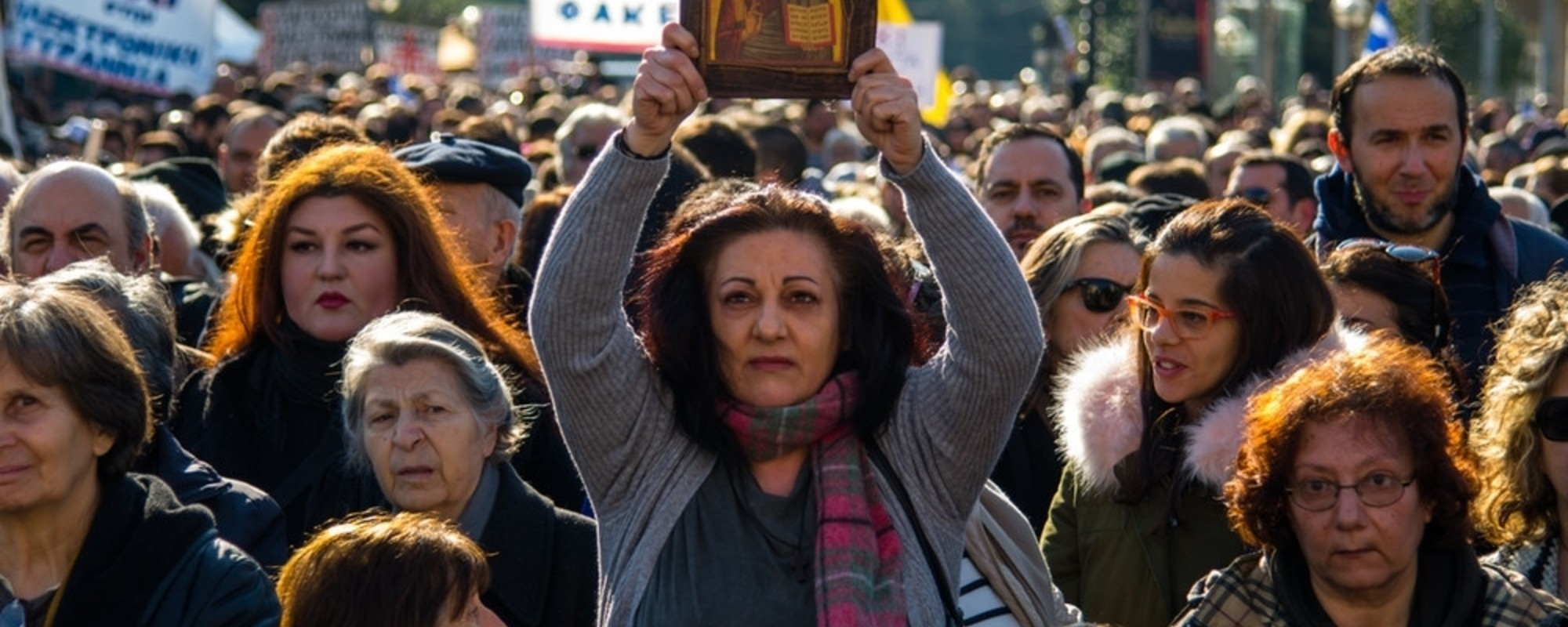 Photos of Greek Christians, Conspiracy Theorists and Neo-Nazis Protesting Their New ID Cards