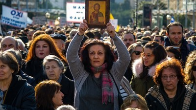 Photos of Greek Christians and Conspiracy Theorists Protesting Their New ID Cards