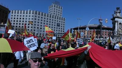 La última manifestación españolista en Barcelona fue una verbena tensa y triste