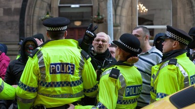 Photos of the Police Trying to Push Anti-Fascists and Neo-Nazis Apart in Liverpool