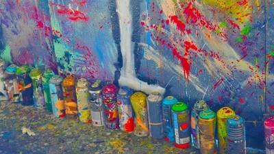 Das ertrunkene Flüchtlingskind Aylan wurde in Frankfurt auf 120qm gemalt