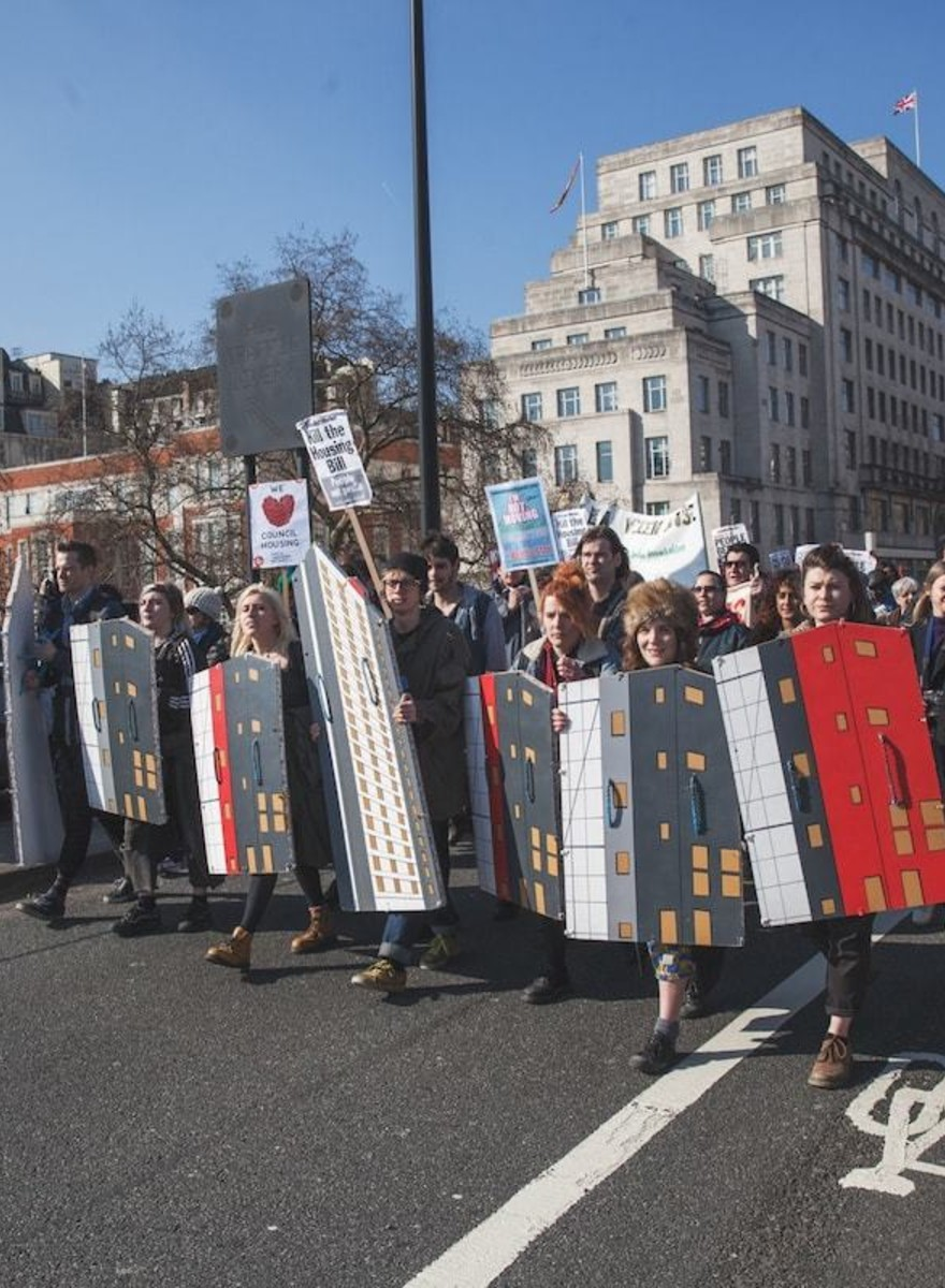 Photos of Protesters Marching Against the UK's Anti-Public Housing Bill