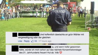 Ein falscher Polizist fordert auf Facebook Vergewaltigungen und KZs für VdB-Wähler