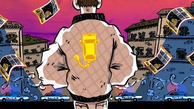 In the Audi gialla, too fast for polizia