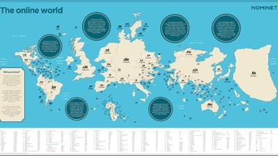 So sähe die Welt aus, wenn registrierte Domains Landmassen wären