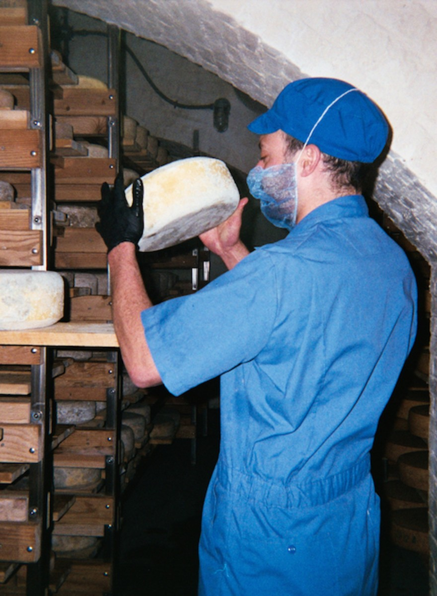 Photos of Fancy Cheese in an Underground 'Cheese Cave'